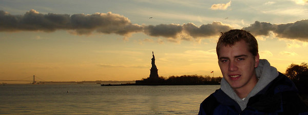 Rob and the Statue of Liberty - New York, NY ... January 5, 2006 ... Photo by Christine Bell