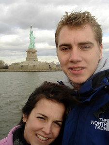 Rob and Christine with the Statue of Liberty - New York, NY ... January 5, 2006 ... Photo by Pedro Mendoza