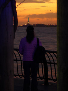 Christine and the Statue of Liberty - New York, NY ... January 4, 2006 ... Photo by Rob Page III