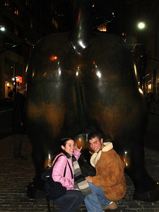 Playing with the bull - New York, NY ... January 4, 2006 ... Photo by Rob Page III