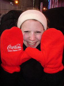 Emily with her Coca-Cola gloves in Times Square - New York, NY ... December 31, 2005 ... Photo by Rob Page III