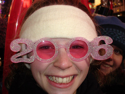 Emily celebrating the new year - New York, NY ... December 31, 2005 ... Photo by Rob Page III