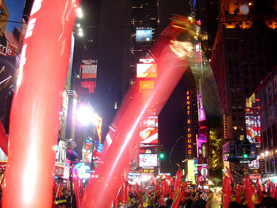 Almost midnite in Times Square - New York, NY ... December 31, 2005 ... Photo by Rob Page III