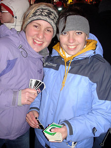 Heather and Beth enjoying UNO in Times Square - New York, NY ... December 31, 2005 ... Photo by Rob Page III
