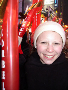 Emily with her balloon in Times Square - New York, NY ... December 31, 2005 ... Photo by Rob Page III