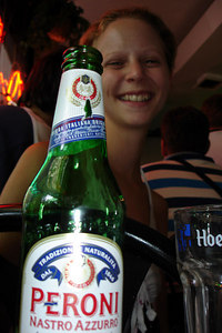 Emily with her Peroni - New York, NY ... July 9, 2006 ... Photo by Rob Page III
