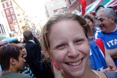 Emily in Little Italy celebrating after Italy's victory over France in the 2006 World Cup final - New York, NY ... July 9, 2006 ... Photo by Rob Page III