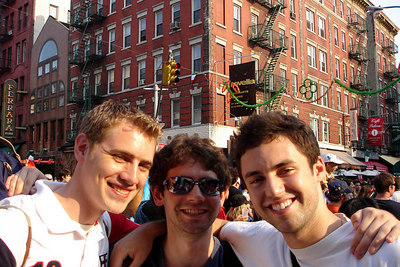Rob, Dermot, and Mike in Little Italy celebrating after Italy's victory over France in the 2006 World Cup final - New York, NY ... July 9, 2006 ... Photo by Emily Conger