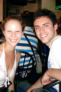 Emily and Mike at Pomodoro's watching the Italy-France game - New York, NY ... July 9, 2006 ... Photo by Rob Page III
