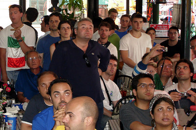 Watching the 2006 World Cup final at Pomodoro in Little Italy - New York, NY ... July 9, 2006 ... Photo by Rob Page III