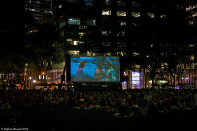 Watching movies in Bryant Park