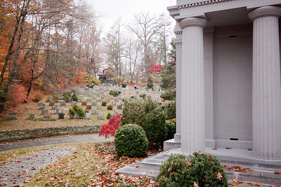 """Lesser folk"" behind the Helmsley Mausoleum—Sleepy Hollow Cemetery, Sleepy Hollow, New York"