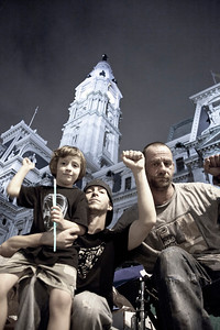 Homeless in Philly:  Scott, his 4 year old son Jonah & Scott's brother, Joe.  Occupy Protest, City Hall, Philadelphia