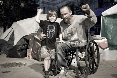 Homeless in Philly: Four year old Jonah & his uncle Joe.  Occupy Protest, City Hall, Philadelphia