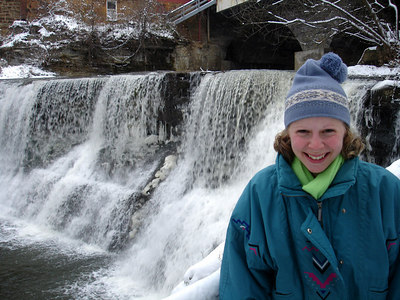 Emily and the falls - Chagrin Falls, OH ... November 24, 2005 ... Photo by Rob Page III