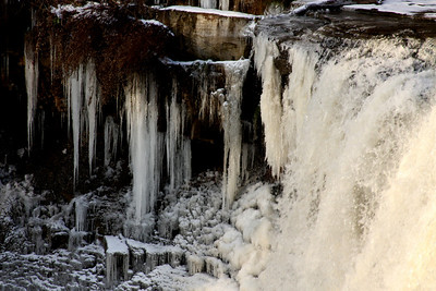 Frozen icicles next to the falls - Chagrin Falls, OH ... December 21, 2008 ... Photo by Rob Page III