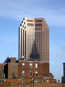 The BP building with the shadow of the Terminal Tower - Cleveland, OH ... November 25, 2005 ... Photo by Rob Page III