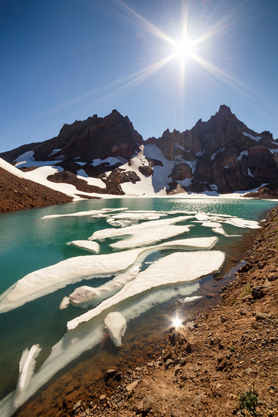 Central, Broken Top - Icebergs, No Name Lake, and a sun star