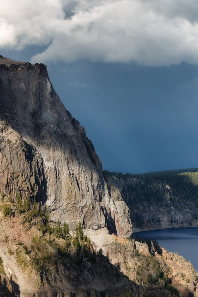 Southern, Crater Lake - Thunderstorm above cliffs over Crater Lake