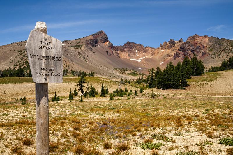 Central, Broken Top - Three Sisters Wilderness Area sign with Broken Top