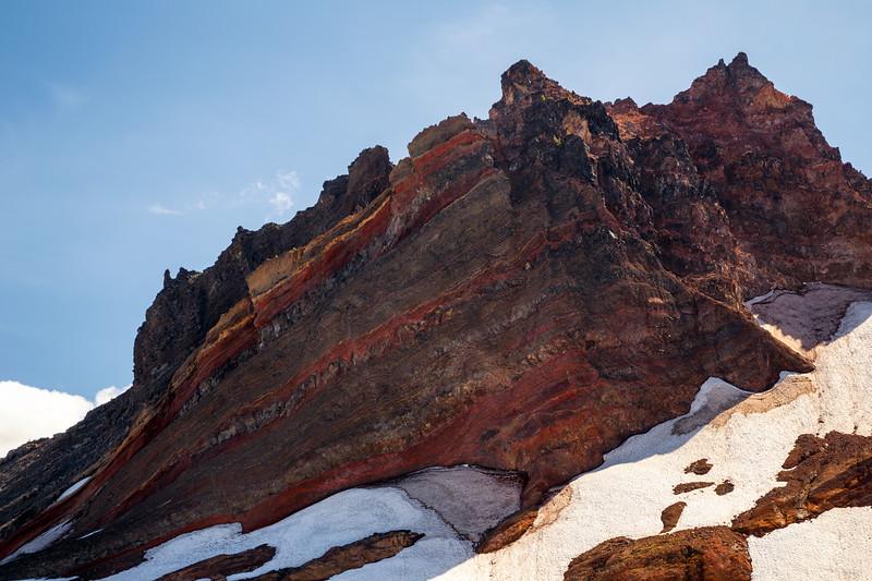 Central, Broken Top - Layers of multicolored rocks on Broken Top