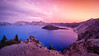 Southern, Crater Lake - - Sunset over lake with Wizard Island