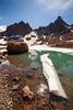Central, Broken Top - Iceberg floating in No Name Lake beneath Broken Top