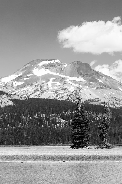 Central, Sparks Lake - Black and white view of South Sister and lake