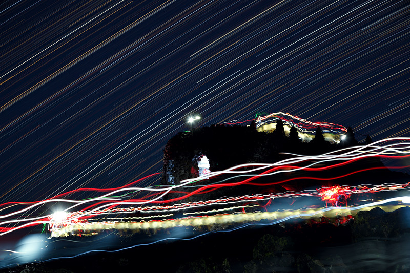 Central, Dee Wright - Long exposure star trails on observatory with headlamps