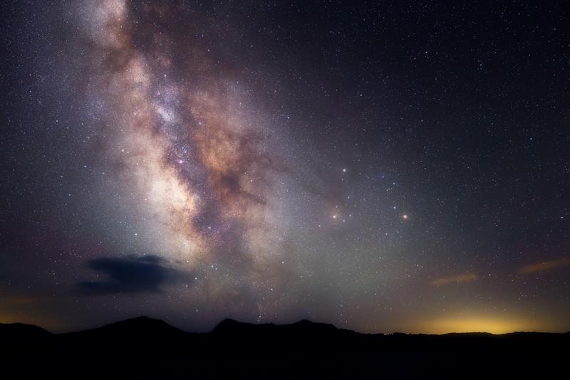 Southern, Crater Lake - Milky Way over darkened rim of lake