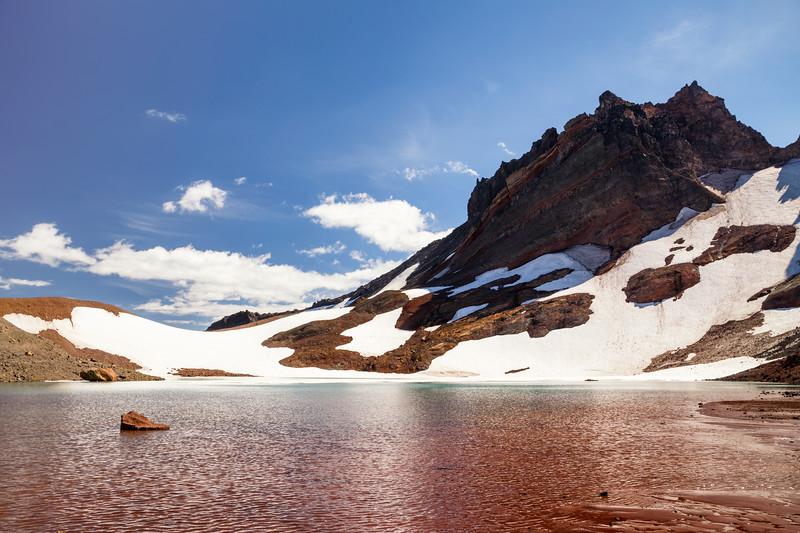 Central, Broken Top - Red hued No Name Lake beneath Broken Top