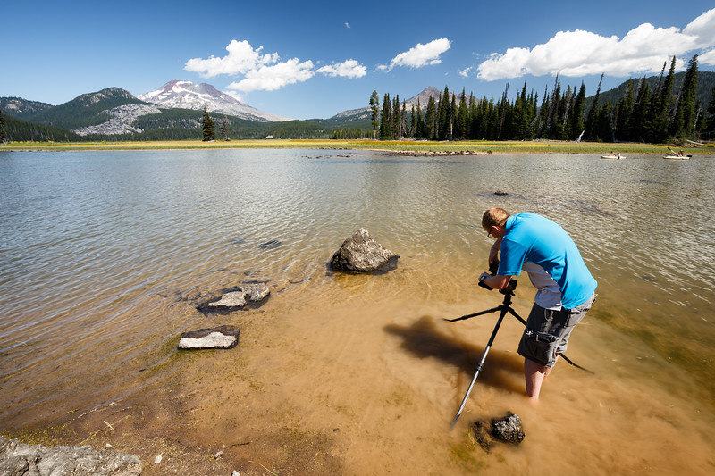Central, Sparks Lake - Photographer standing in lake with tripod