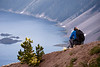 Southern, Crater Lake - Photographer on ridge below rim of lake