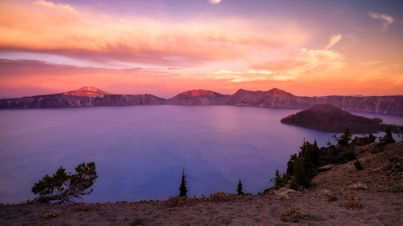 Southern, Crater Lake - Sunset over lake with remnants of thunderstorm