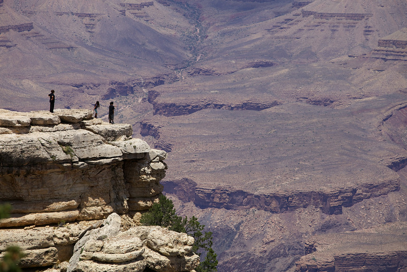 Tourists leave the path at Mather Point on the South Rim