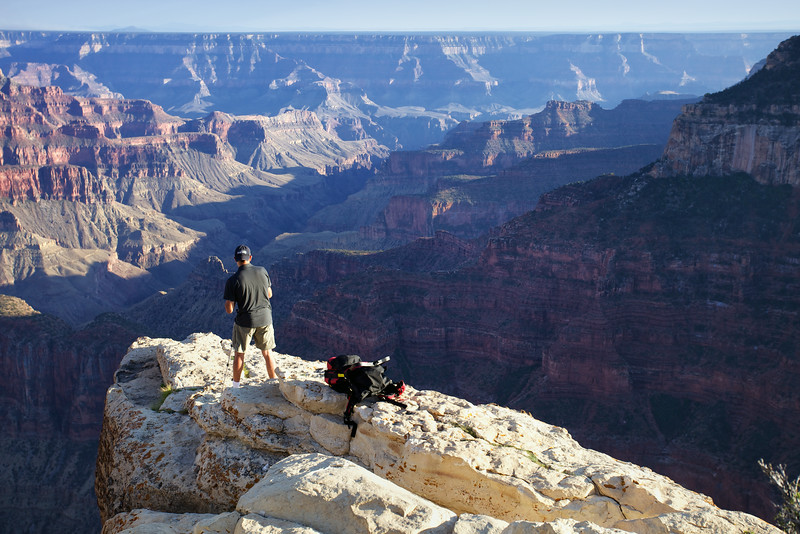 A photographer risks all for the perfect shot above Bright Angel Canyon, North Rim