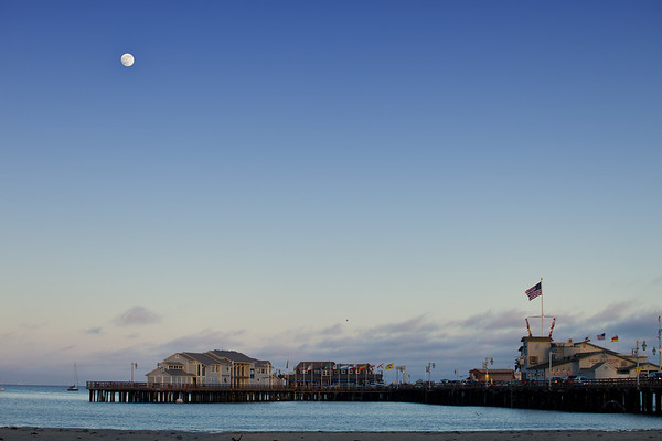 Moonrise above Santa Barbara Pier