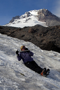 Heather goes sliding by - Mt. Hood, OR ... June 27, 2007 ... Photo by Rob Page III