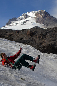 Is Nicole going to tumble off the mountain - Mt. Hood, OR ... June 27, 2007 ... Photo by Rob Page III