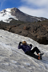 Heather's sliding off the mountain - Mt. Hood, OR ... June 27, 2007 ... Photo by Rob Page III