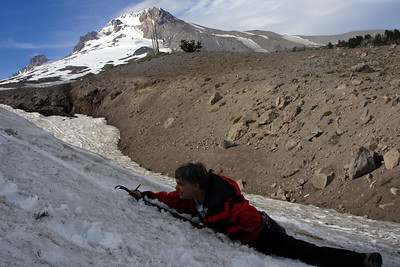Mr. Page showing us how to stop - Mt. Hood, OR ... June 27, 2007 ... Photo by Rob Page III