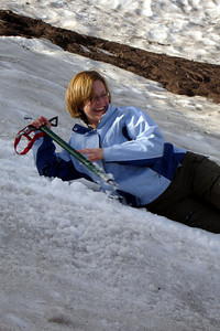 Jen enjoying the snow - Mt. Hood, OR ... June 27, 2007 ... Photo by Rob Page III