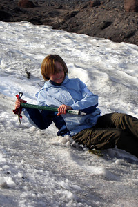 Jen slides down the snow - Mt. Hood, OR ... June 27, 2007 ... Photo by Rob Page III