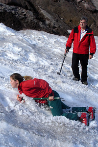 Nicole throws her whole body into it - Mt. Hood, OR ... June 27, 2007 ... Photo by Rob Page III