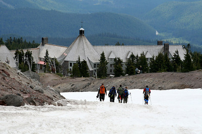 Coming down the mountain with Timberline Lodge in the background - Mt. Hood, OR ... June 28, 2007 ... Photo by Nicole Page