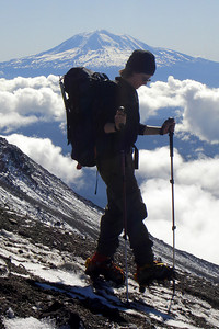Jen on the way down with Mt. Adams in the background - Mt. St. Helens, WA ... June 30, 2007 ... Photo by Rob Page III
