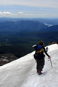 Jen working her way across the snow - Mt. St. Helens, WA ... June 30, 2007 ... Photo by Rob Page III