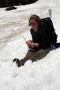 Jen is glissading - Mt. St. Helens, WA ... June 30, 2007 ... Photo by Rob Page III