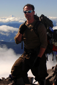 Dave with Mt. Hood off in the distance - Mt. St. Helens, WA ... June 30, 2007 ... Photo by Rob Page III