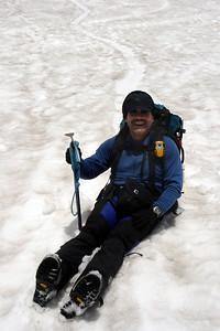 Bob having fun sliding down the mountain - Mt. St. Helens, WA ... June 30, 2007 ... Photo by Rob Page III